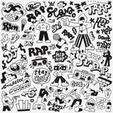 Grupo da garatuja do música rap ilustração do vetor