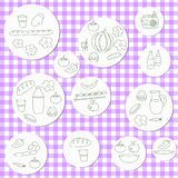 Grupo da garatuja do piquenique do verão Várias refeições, bebidas, objetos ilustração do vetor