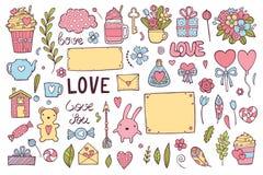 Grupo da garatuja do tema do dia de Valentim Formas românticas tradicionais do coração dos símbolos, cupido, setas, caixa de pres ilustração stock