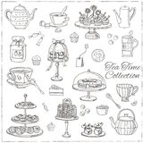 Grupo da garatuja do tempo do chá esboço Fotografia de Stock Royalty Free