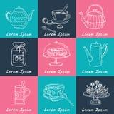 Grupo da garatuja do tempo do chá esboço Imagens de Stock Royalty Free