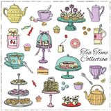 Grupo da garatuja do tempo do chá esboço Fotos de Stock Royalty Free