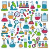 Grupo da garatuja do vetor das ciências naturais da farmacologia da química Fotos de Stock Royalty Free