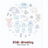 Grupo da garatuja dos desenhos das crianças Ilustração do vintage para a identidade ilustração do vetor