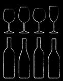 Grupo da garrafa e do vidro de vinho do giz Fotografia de Stock Royalty Free