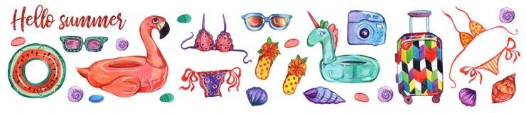 Grupo da ilustração da aquarela Elementos da decoração natação Olá! grupo do ícone do molde do partido do verão ilustração stock