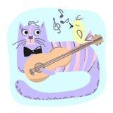 Grupo da ilustração de CAT Comic Animal Cartoon Vetora da MÚSICA ilustração stock