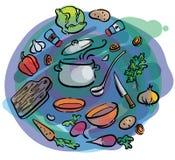 Grupo da ilustração de ingredientes dos vegetais Imagens de Stock Royalty Free