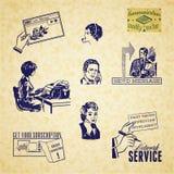 Grupo da ilustração de uma comunicação do vintage Imagens de Stock