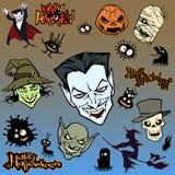Grupo da ilustração do Dia das Bruxas dos desenhos animados de criaturas e de caráteres estranhos maus diversos ilustração royalty free