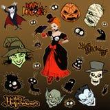 Grupo da ilustração do Dia das Bruxas dos desenhos animados de criaturas e de caráteres estranhos maus diversos ilustração stock