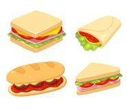 Grupo da ilustração do sanduíche ilustração do vetor