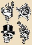 Grupo da ilustração do vetor da tatuagem Fotografia de Stock