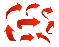 Grupo da ilustração do vetor de ícones vermelhos da seta isolados no fundo branco no estilo 3d ilustração stock