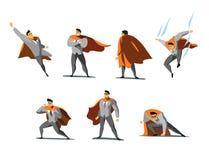 Grupo da ilustração do vetor de ações de Superhero do homem de negócios, poses diferentes Imagens de Stock Royalty Free