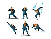 Grupo da ilustração do vetor de ações do super-herói, poses diferentes Imagem de Stock
