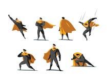Grupo da ilustração do vetor de ações do super-herói, poses diferentes Fotos de Stock Royalty Free