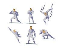 Grupo da ilustração do vetor de ações do super-herói, poses diferentes Imagens de Stock Royalty Free