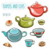Grupo da ilustração do vetor de bules, de copos e de bolos Fotografia de Stock