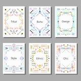 Grupo da ilustração do vetor de cartões universais coloridos artísticos Foto de Stock Royalty Free