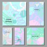 Grupo da ilustração do vetor de cartões universais coloridos artísticos Texturas da escova Fotos de Stock Royalty Free