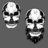 Grupo da ilustração do vetor de crânios Skullas com barba e bigode ilustração stock