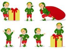 Grupo da ilustração do vetor de duendes do Natal dos desenhos animados Imagens de Stock Royalty Free