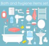 Grupo da ilustração do vetor de elementos do banheiro Ícones da higiene e do toalete no estilo liso dos desenhos animados ilustração do vetor