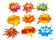 Grupo da ilustração do vetor de etiquetas brilhantes e coloridas dos desenhos animados Estilo cômico do pop art do fundo da bolha ilustração royalty free