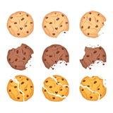 Grupo da ilustração do vetor de formas diferentes farinha de aveia, chocolate e cookies wheaten com gotas e migalhas de chocolate ilustração stock