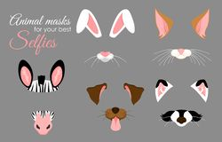 Grupo da ilustração do vetor de orelhas animais bonitos e de máscaras do nariz para selfies, imagens e o efeito video Caras engra ilustração do vetor