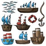 Grupo da ilustração do vetor de várias ondas do mar da âncora do boia salva-vidas do navio dos desenhos animados ilustração royalty free