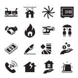 Grupo da ilustração do vetor dos ícones do seguro Imagens de Stock