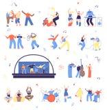 Grupo da ilustração do vetor dos músicos e dos fan de música ilustração royalty free