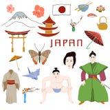Grupo da ilustração do vetor dos símbolos de Japão Imagens de Stock Royalty Free