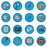Grupo da ilustração do vetor para o projeto liso dos ícones da escola Imagens de Stock