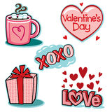 Grupo da ilustração dos ícones do amor do dia de Valentim Imagem de Stock