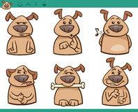 Grupo da ilustração dos desenhos animados das emoções do cão Imagens de Stock