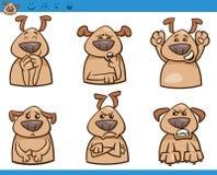 Grupo da ilustração dos desenhos animados das emoções do cão Imagens de Stock Royalty Free