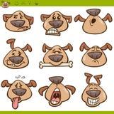 Grupo da ilustração dos desenhos animados dos emoticons do cão Foto de Stock Royalty Free