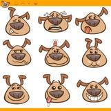 Grupo da ilustração dos desenhos animados dos emoticons do cão Fotografia de Stock Royalty Free