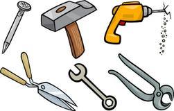 Grupo da ilustração dos desenhos animados dos objetos das ferramentas Foto de Stock