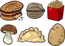 Grupo da ilustração dos desenhos animados dos objetos do alimento ilustração do vetor