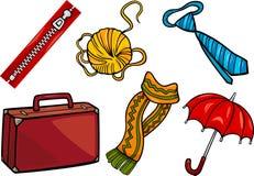 Grupo da ilustração dos desenhos animados dos objetos dos acessórios ilustração royalty free