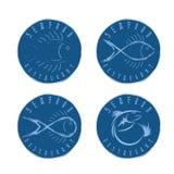 Grupo da ilustração de etiquetas do marisco no estilo retro Imagem de Stock
