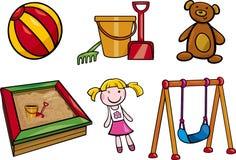 Grupo da ilustração dos desenhos animados dos objetos dos brinquedos Fotografia de Stock