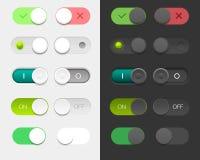 Grupo da interface de utilizador do vetor que inclui em volta dos interruptores ilustração royalty free