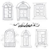 Grupo da janela do vintage ilustração do vetor