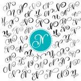 Grupo da letra tirada mão N da caligrafia do vetor Fonte do roteiro letras escritas com tinta Estilo escrito à mão da escova ilustração stock