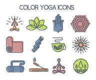 Grupo 12 da linha ícones da ioga Imagens de Stock Royalty Free